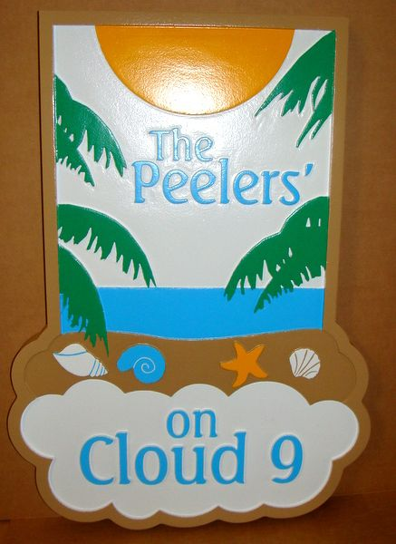 "L21113 - Carved Sign for Seaside Residence, ""Cloud Nine"", with Palms, Ocean and Sun"