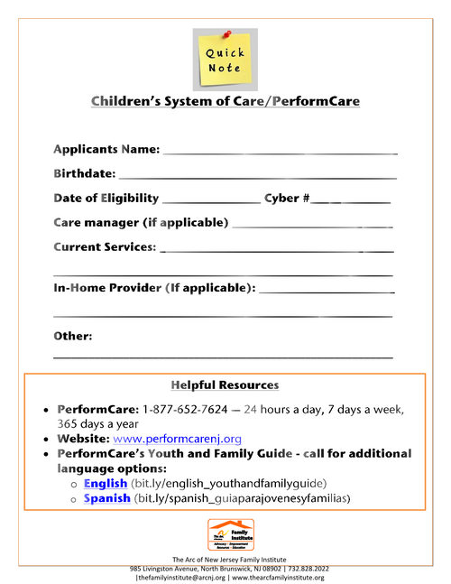 Children's System of Care/PerformCare - Quick Information