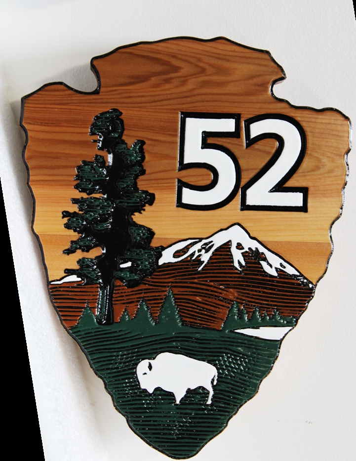 G16172 - Carved Cedar campground site marker sign is a version of the National Park Service Arrow Sign.