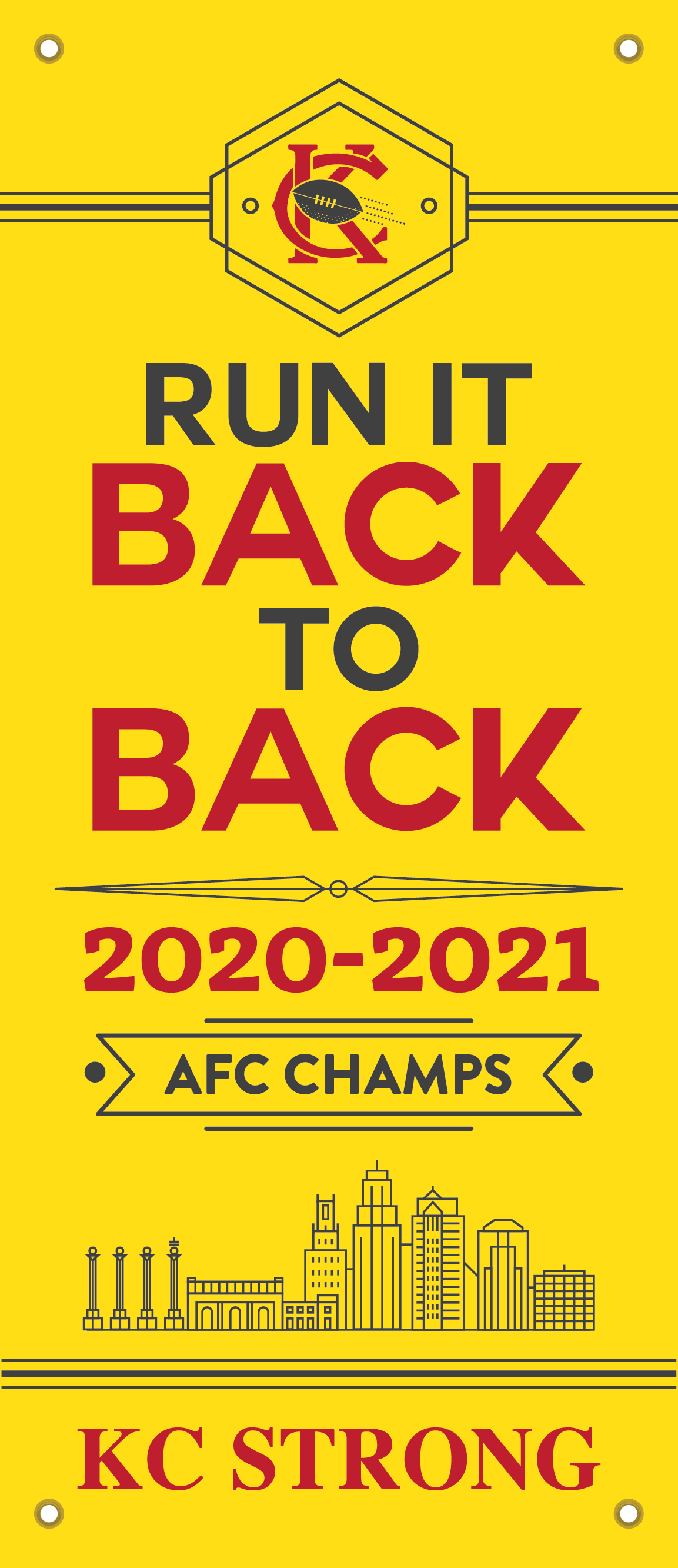 """15""""x36"""" Run It Back to Back Chiefs Banner"""