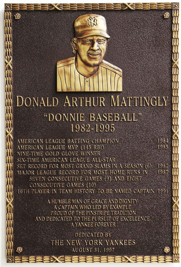 "GC16511 - 3-D Brass Wall Plaque Honoring Donald Mattingly, ""Donnie Baseball"", a New York Yankees Star Baseball Player"