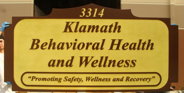 "B11163 - Carved HDU Address Sign for ""Klamath Behavioral Health and Wellness Center"""