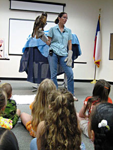 Mary Anne Weber and a Red-tailed Hawk at a library program