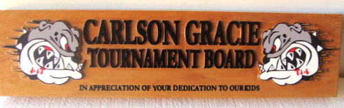 Y34840 - Carved 2.5-D Cedar (Flat Relief)  Wall Plaque of the Tournament Board for Carlson Gracie High School (with Bulldog Heads)