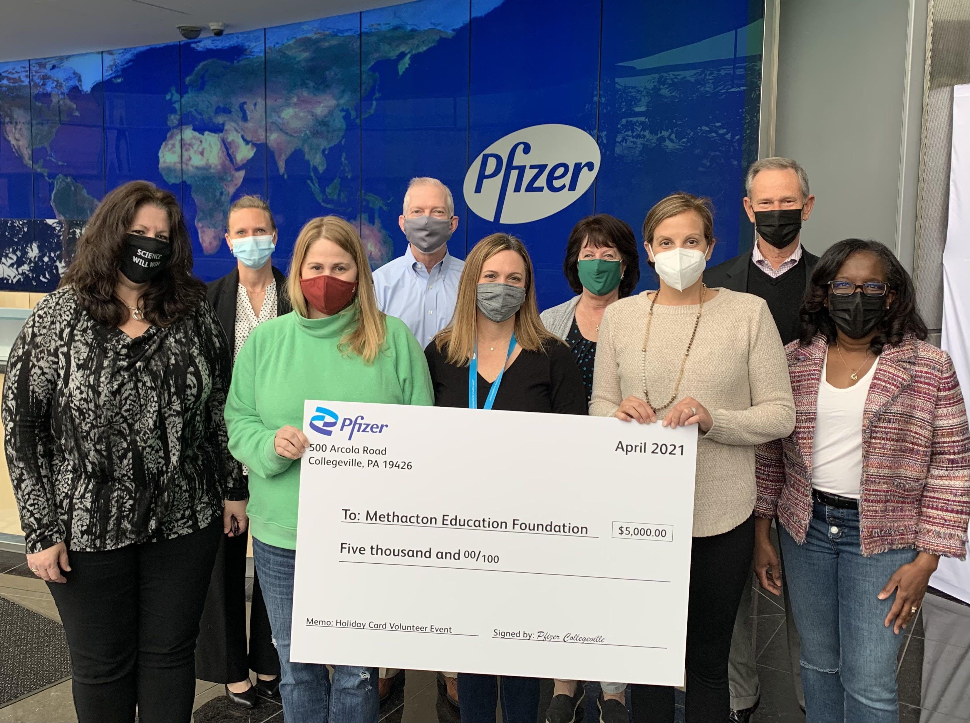 Pfizer Donates $5,000 to Support Methacton Education