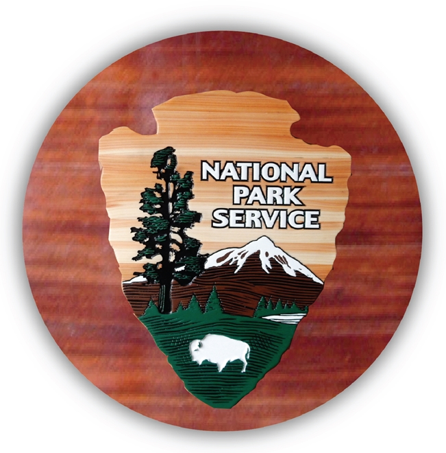"EA-2050 - The ""Arrow"" Logo of the National Park Service (NPS) on Mahogany Plaque"