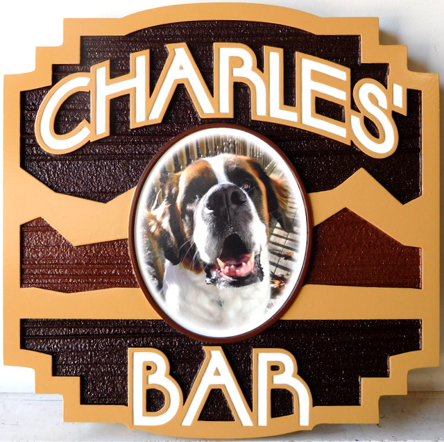 "RB27128 - Stylized Carved Sign for ""Charles' Bar"", with Photo of St. Bernard Dog"
