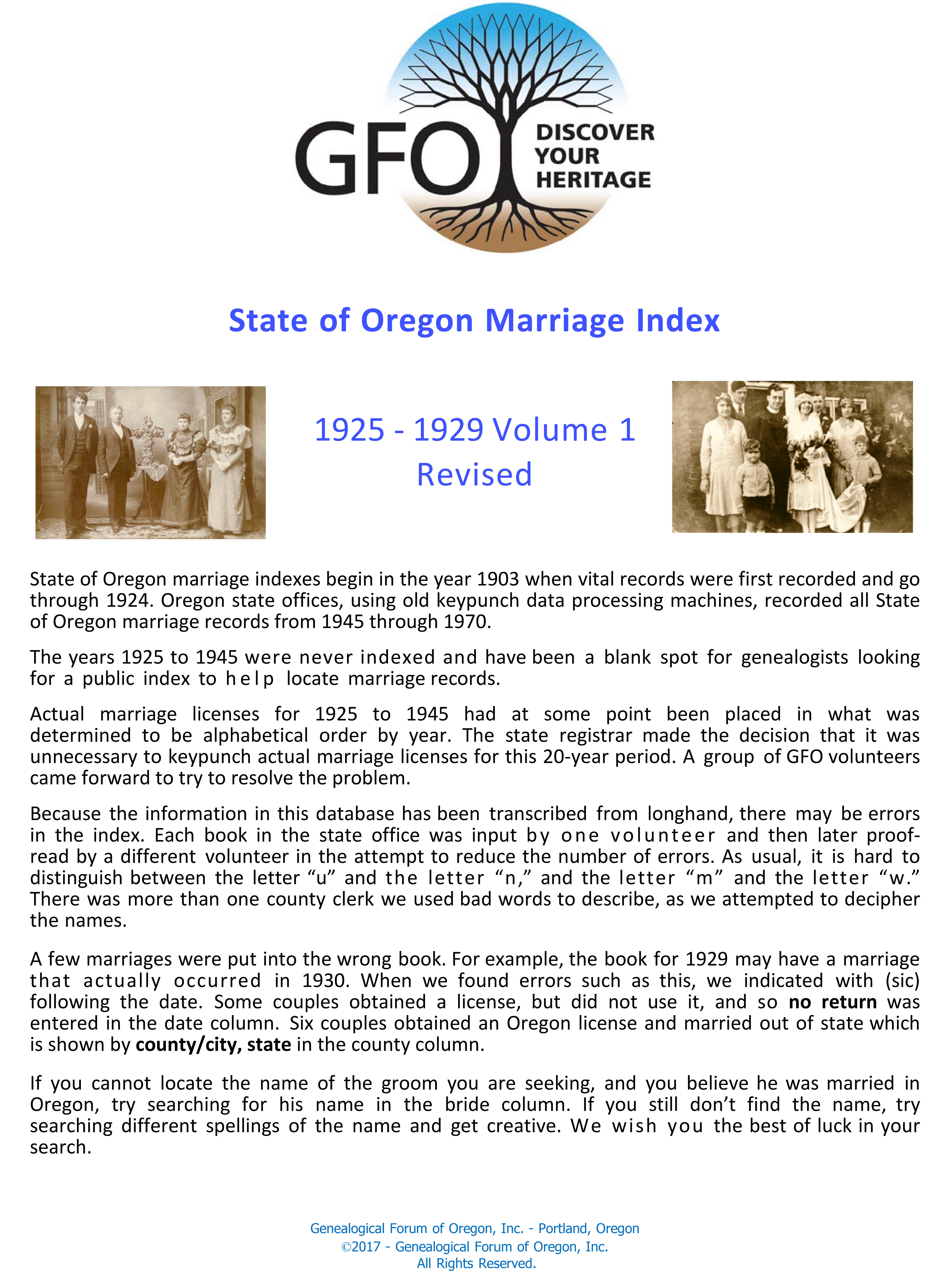 State of Oregon Marriage Index, 1925-1929 (Vol 1 of 4)