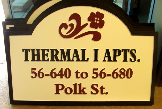 "K20132 - Carved  HDU ""Thermal  I  Apartments""  Address  Sign, with Stylized Flower"