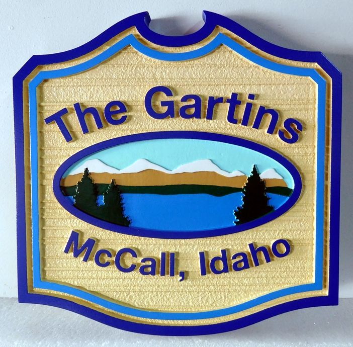 "M22315 - Carved and Sandblasted Lake Cabin Sign, with Mountains, Lake and Trees ""The Gartins"""