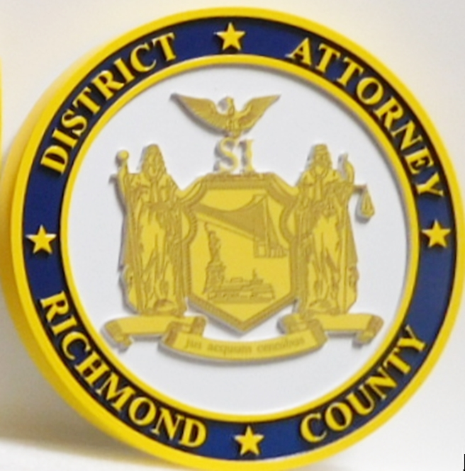 CP-1510 - Carved Plaque of the Seal of the District Attorney of Richmond County, New York, 2.5-D Raised Relief with Giclee Applique