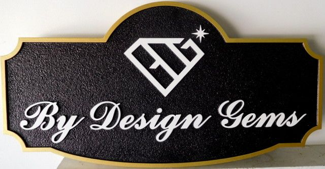"SA28039 - Carved and Sandblasted HDU sign for ""By Designs Gems"" Jewelry Store."
