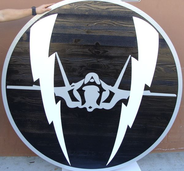 LP-2560 - Carved Round Plaque of the Crest of a Fighter Squadron,  Artist Painted F-15