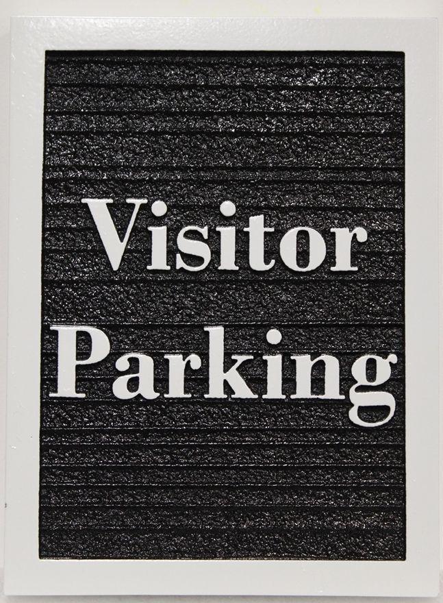 KA20683 - Carved and Sandblasted Wood Grain HDU Visitor Parking Sign