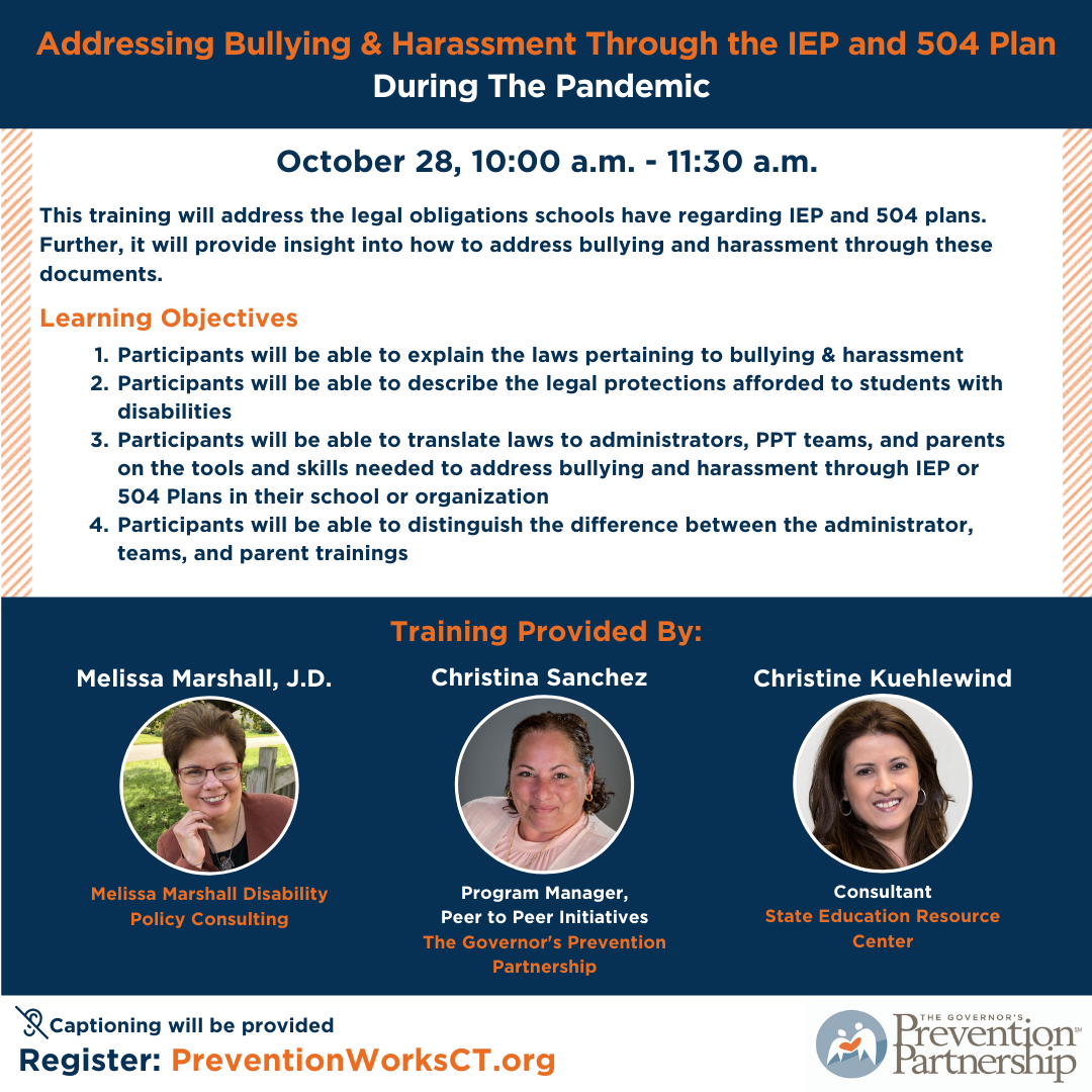 Addressing Bullying & Harassment Through the IEP and 504 Plan During The Pandemic