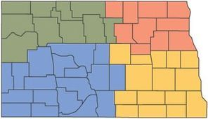 A map that shows locations of Child Care Aware offices in North Dakota