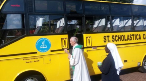 Blessing the New Bus of St. Scholastica Primary School