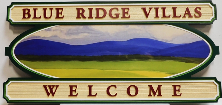 "K20349 - Carved HDU Entrance Sign  for the ""Blue Ridge Villa ""Residential Community, with Wood Grain Sandblasted Background"