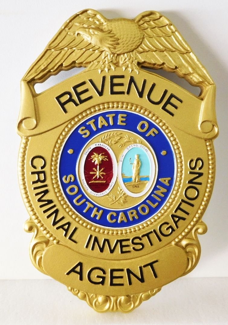 X33698 - Carved 3-D HDU Plaque of the Badge of the Revenue Criminal Investigations Division in South Carolina