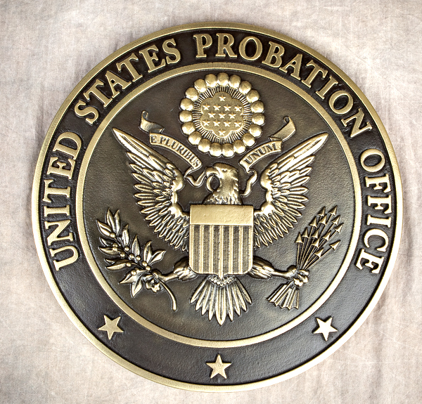 U30052 - Brass-Coated Carved 3D Wall Plaque with US Great Seal for US Probation Office