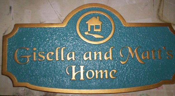 "I18766 - Carved and Sandblasted 2.5-D HDU Residence Address Sign  ""Gisella and Matt's Home"""