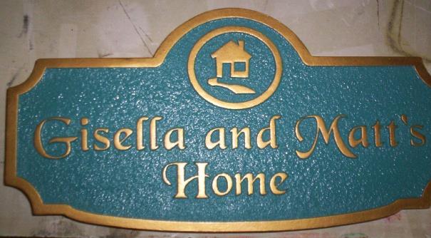 "I18240 - Carved and Sandblasted 2.5-D HDU Residence Address Sign  ""Gisella and Matt's Home"""