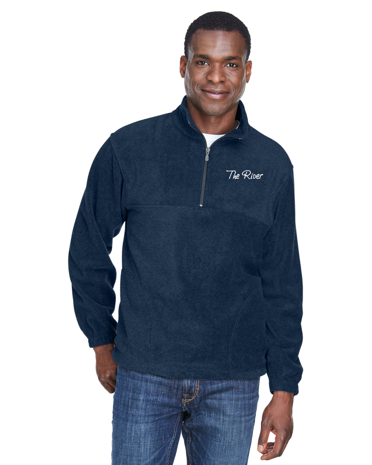 M980 Navy Harriton Adult 8 oz. Quarter-Zip Fleece Pullover Navy