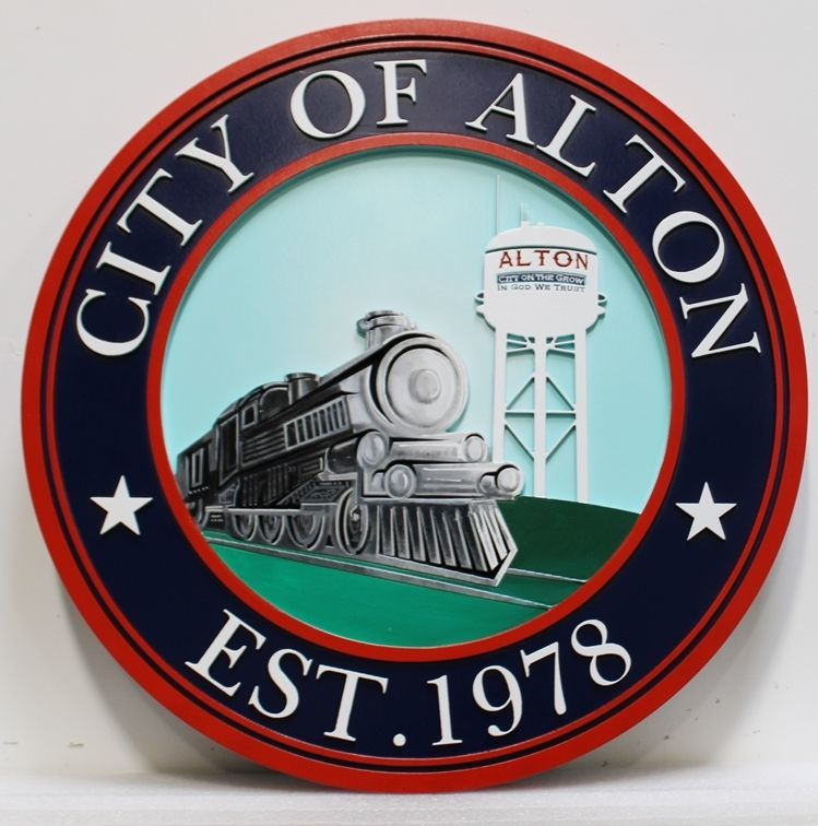 DP-1015 - Carved 2.5-D HDU Plaque of Seal of the City of Alton, Texas