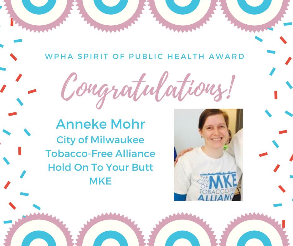 Anneke Mohr Receives WPHA's Spirit of Public Health Award
