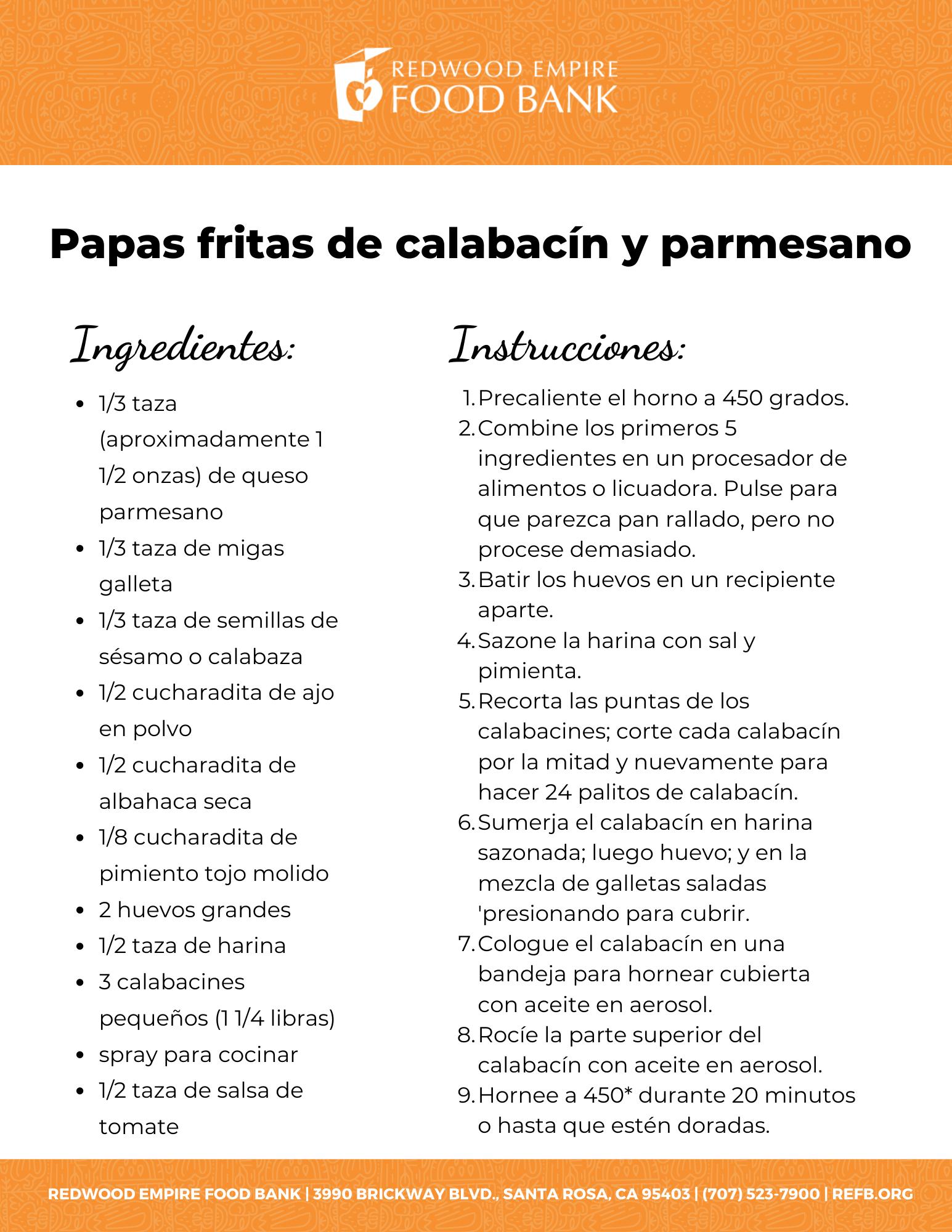 Papas fritas de calabacín y parmesano