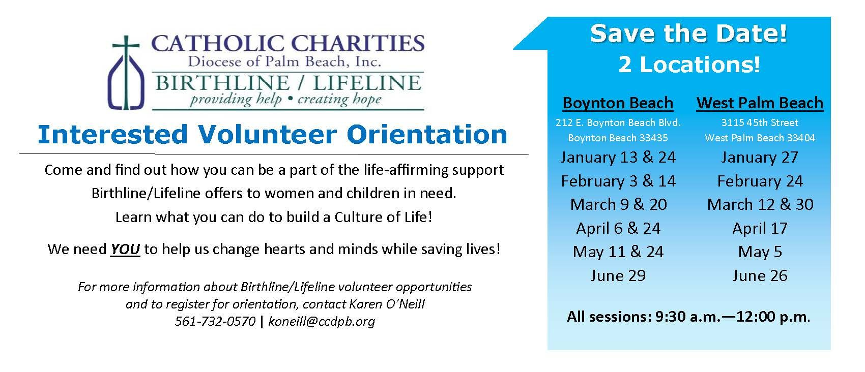 Birthline/Lifeline Volunteer Orientation - Boynton Beach