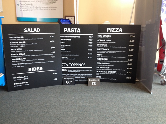 Chalkboard style menu boards for Pizza Parlors in Orange County