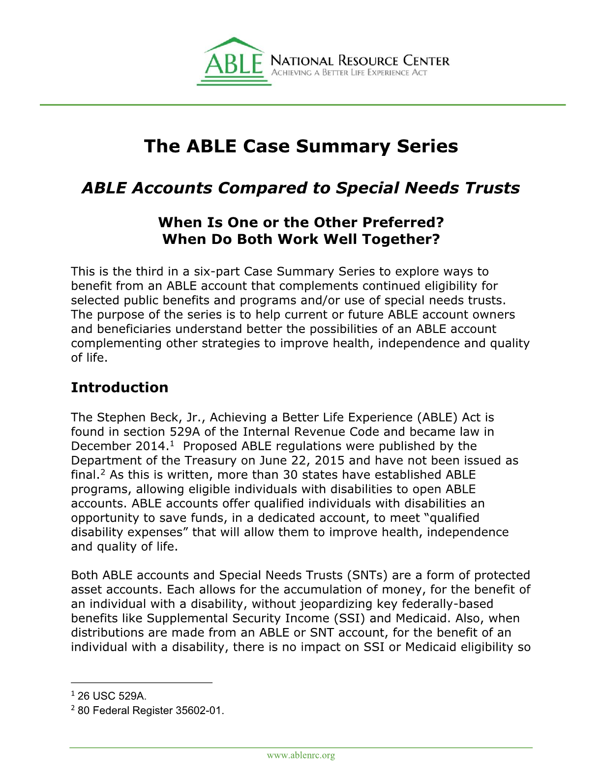 ABLE Accounts Compared to Special Need Trusts