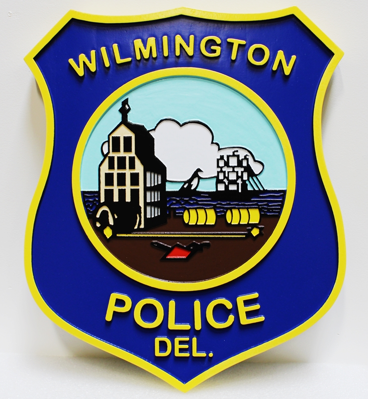 PP-3250 - Carved Plaque of t e Emblem of the Police Department of Wilmington, Delaware, 2.5-D Artist-Painted