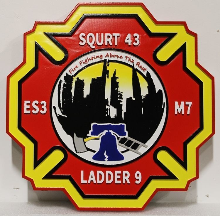 X33865 - Carved  2.5-D HDU Plaque  of the badge or Patch of Ladder 9, SQURT 43, ES3, Medic 7 of the City of Philadelphia Fire Department