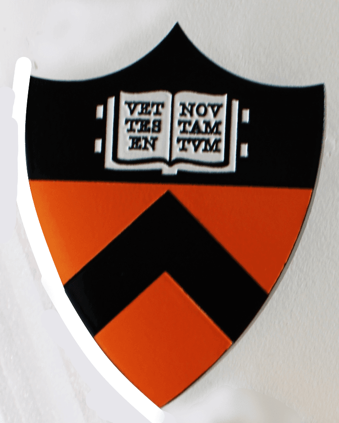 """XP-3460 - Carved Plaque of the Coat-of Arms for Princeton University, with Open Book and Text """"Vet Nov Testamentum,""""as Artwork"""