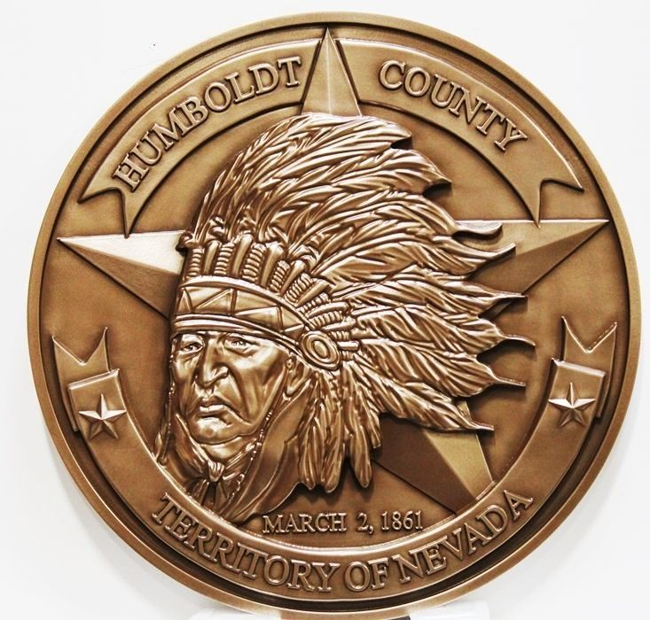 MA1063 - Plaque of the Seal of Humboldt County, Nevada, 3-D