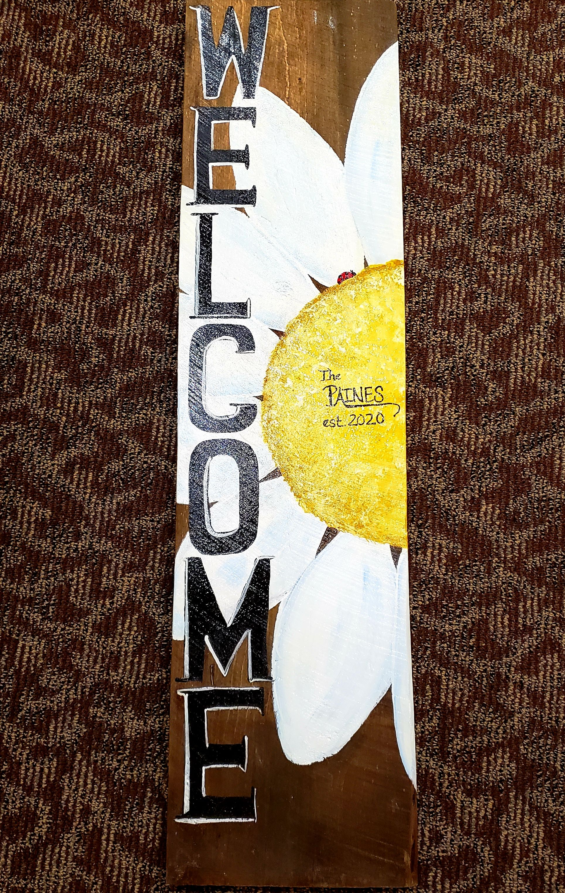 Rustic Flower Welcome Sign Art Class with Linda Anderson-Paine
