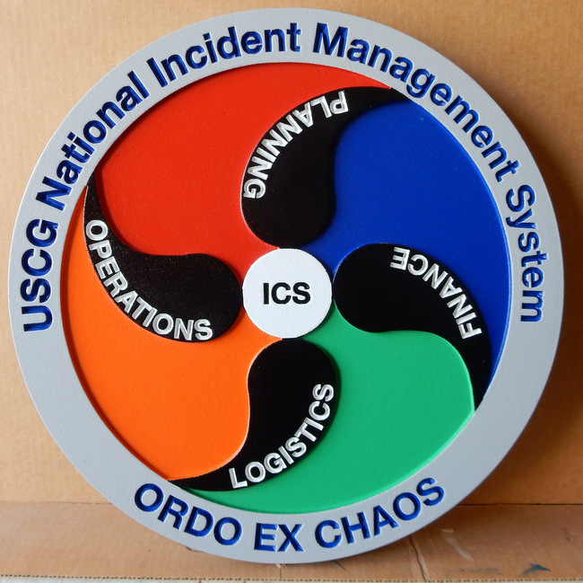 "NP-2160- Carved Plaque of Seal of US Coast National Incident Management System ""Ordo Ex Chaos"",  Artist Painted"