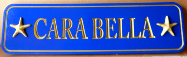 "L21890 - Engraved  Quarterboard Sign with Silver Painted Text  ""Cara Bella"" with 3-D Carved Starfish"