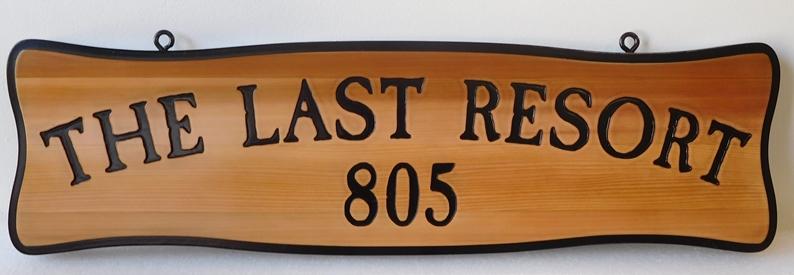 "M22031 - Engraved Cedar Address Sign ""The Last Resort"""