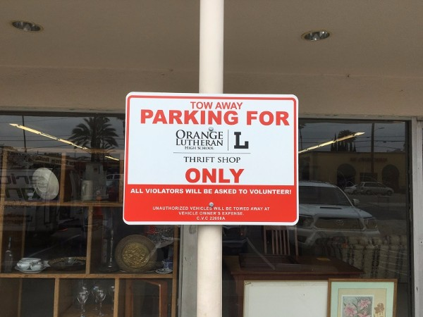 Parking lot signs for nonprofits in Orange County CA