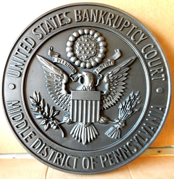 A10829- Carved 3-D Nickel-silver-Coated Wall Plaque of Great seal of US Bankruptcy Court (Middle Pennsylvania)
