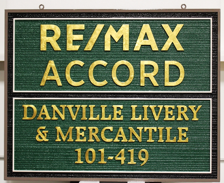 C12283 - Carved and Sandblasted Wood Grain Name Signs for RE/MAX ACCORD and Danville Livery & Mercantile,