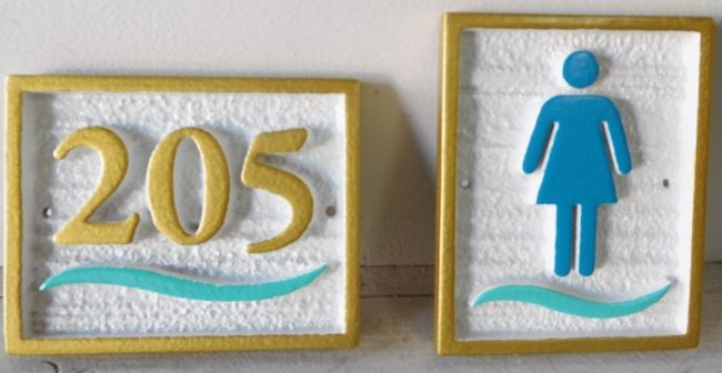 T29421 - Carved and Sandblasted  HDU Restroom and Room Number Plaques for Hotel