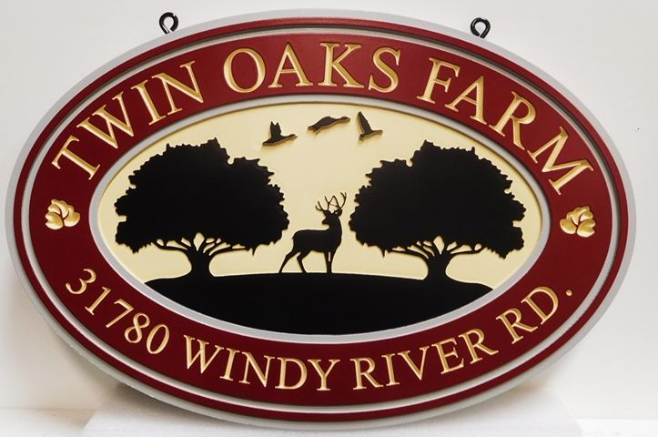 """O24555 -Carved Address Sign for """"Twin Oaks Farm"""" with Deer, Trees and Birds as Artwork"""