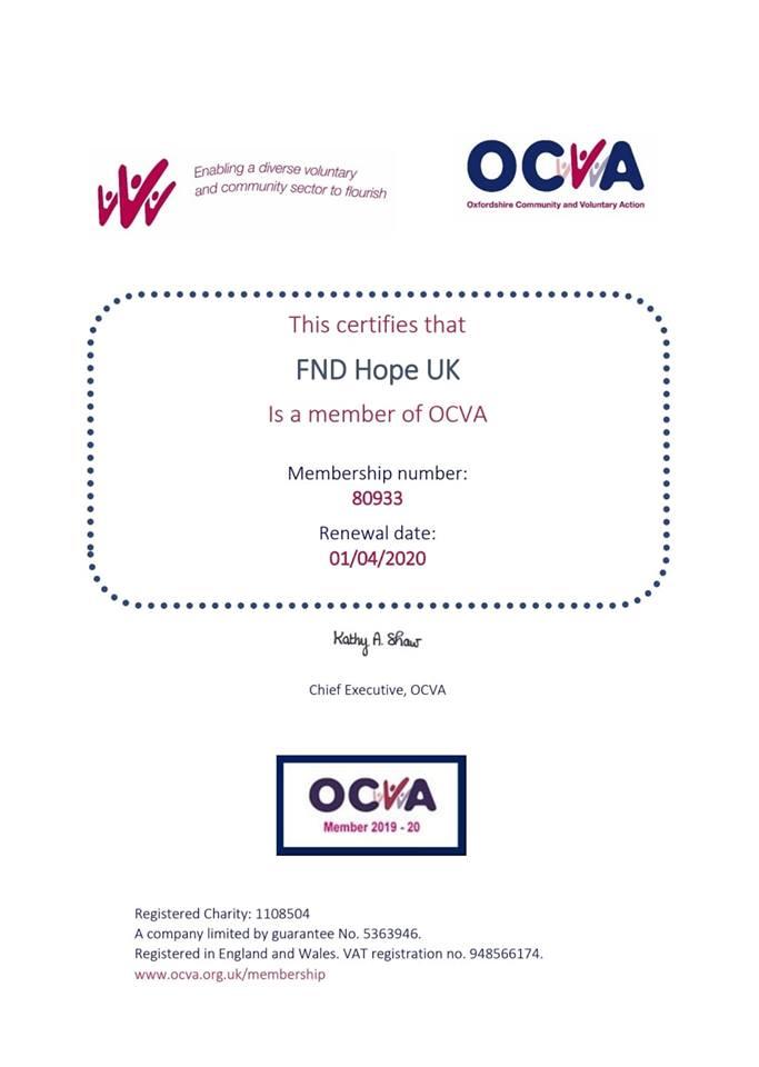 FND Hope UK Renews membership with OCVA