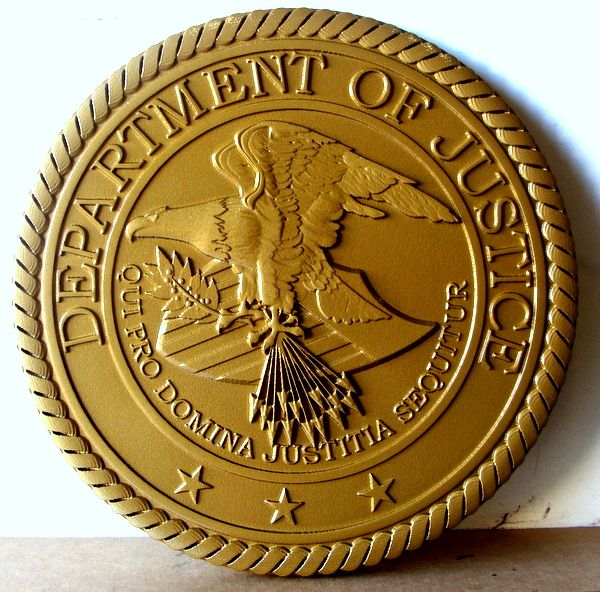 FP-1580 - Carved Plaque of the  Seal of the US Department of Justice, 3-D  Painted Metallic Gold