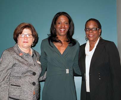 YWCA Hartford Region CEO Deborah Ullman, Keynote speaker Stacey Tisdale and Connecticut State Treasurer Denise L. Nappier