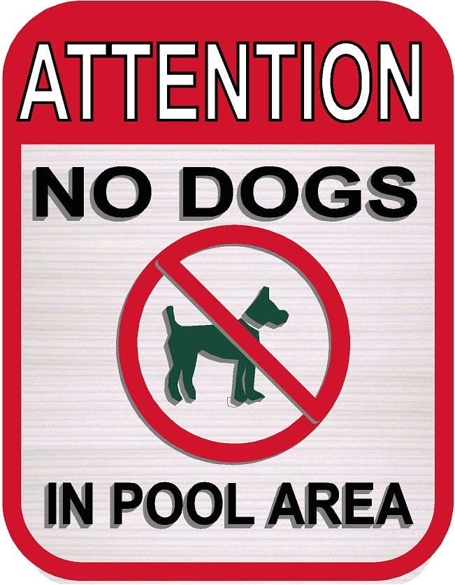 """GB16400 - Carved HDU Sign With Symbol """" No Dogs in Pool Area"""""""